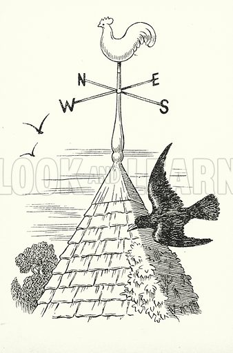 The South wind brings wet weather, / The North wind wet and cold together, / The West wind brings us rain, / The East wind blows it back again. Illustration for A Little Book of Knowledge for Little-Folks illustrated by Percy Billinghurst (Sands, c 1910).