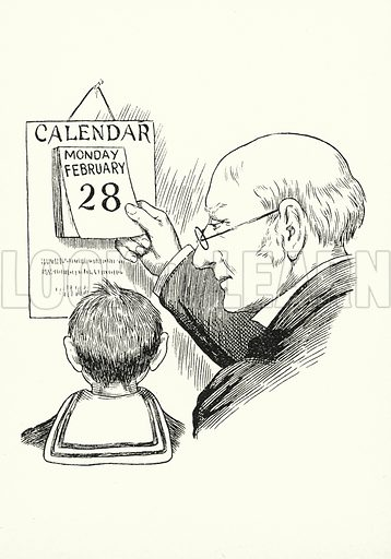 Thirty days hath September, / April, June, and November; / All the rest have thirty-one, / February twenty-eight alone, / Except in leap-year, at which time, / February's days are twenty-nine. Illustration for A Little Book of Knowledge for Little-Folks illustrated by Percy Billinghurst (Sands, c 1910).