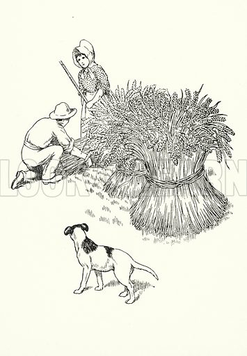 August brings the sheaves of corn, / Then the harvest home is borne. Illustration for A Little Book of Knowledge for Little-Folks illustrated by Percy Billinghurst (Sands, c 1910).