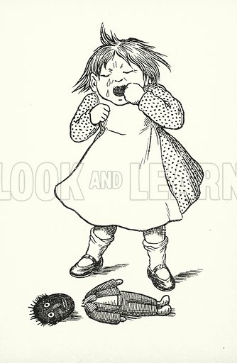 Wednesday's child is full of woe. Illustration for A Little Book of Knowledge for Little-Folks illustrated by Percy Billinghurst (Sands, c 1910).