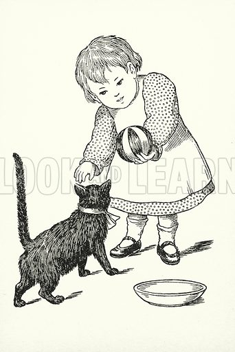 Friday's child is loving and giving. Illustration for A Little Book of Knowledge for Little-Folks illustrated by Percy Billinghurst (Sands, c 1910).