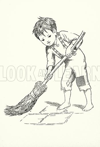 Saturday's child works hard for its living. Illustration for A Little Book of Knowledge for Little-Folks illustrated by Percy Billinghurst (Sands, c 1910).