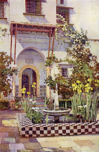A Spanish Garden. Illustration for Landscape Gardening, Planning, Constructing, Planting by Richard Sudell (Ward Lock, c 1933).
