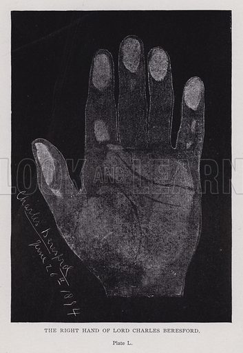The right hand of Lord Charles Beresford. Illustration for Cheiro's Language of the Hand (14th edn, Nichols, and Rand McNally, 1910).  This work was originally published in 1897. William John Warner (also known as Count Louis Hamon), popularly known as Cheiro (1866-1936) was an Irish astrologer and palmist.