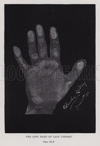 The left hand of Lady Lindsay. Illustration for Cheiro's Language of the Hand (14th edn, Nichols, and Rand McNally, 1910).  This work was originally published in 1897. William John Warner (also known as Count Louis Hamon), popularly known as Cheiro (1866-1936) was an Irish astrologer and palmist.