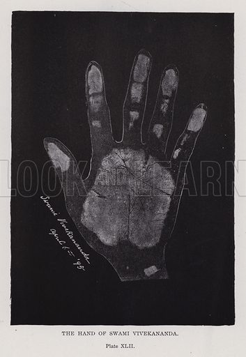 The hand of Swami Vivekananda. Illustration for Cheiro's Language of the Hand (14th edn, Nichols, and Rand McNally, 1910).  This work was originally published in 1897. William John Warner (also known as Count Louis Hamon), popularly known as Cheiro (1866-1936) was an Irish astrologer and palmist.