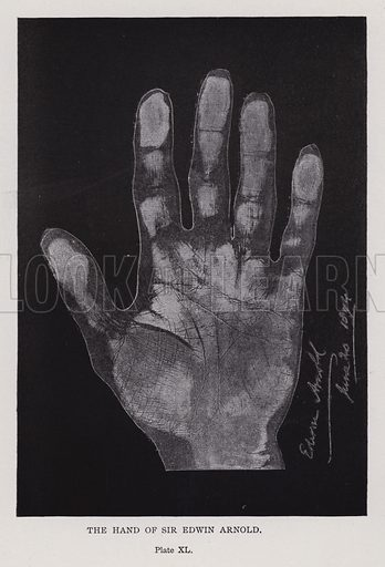 The hand of Sir Edwin Arnold. Illustration for Cheiro's Language of the Hand (14th edn, Nichols, and Rand McNally, 1910).  This work was originally published in 1897. William John Warner (also known as Count Louis Hamon), popularly known as Cheiro (1866-1936) was an Irish astrologer and palmist.