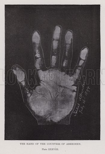 The hand of the Countess of Aberdeen. Illustration for Cheiro's Language of the Hand (14th edn, Nichols, and Rand McNally, 1910).  This work was originally published in 1897. William John Warner (also known as Count Louis Hamon), popularly known as Cheiro (1866-1936) was an Irish astrologer and palmist.