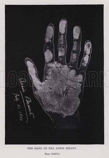 The hand of Mrs Annie Besant