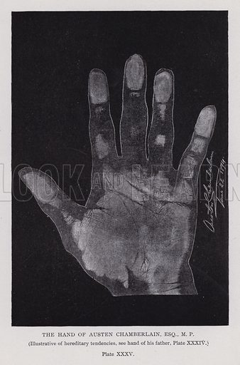 The hand of Austen Chamberlain. Illustration for Cheiro's Language of the Hand (14th edn, Nichols, and Rand McNally, 1910).  This work was originally published in 1897. William John Warner (also known as Count Louis Hamon), popularly known as Cheiro (1866-1936) was an Irish astrologer and palmist.