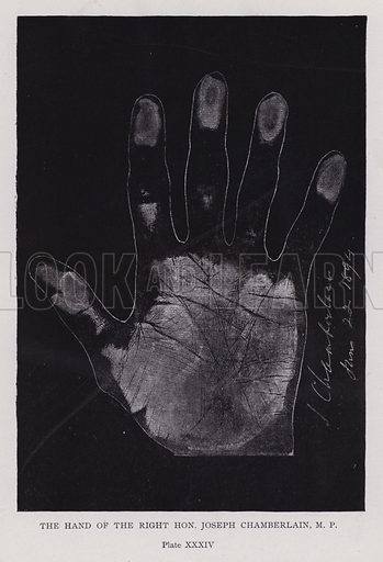 The hand of the Right Hon Joseph Chamberlain. Illustration for Cheiro's Language of the Hand (14th edn, Nichols, and Rand McNally, 1910).  This work was originally published in 1897. William John Warner (also known as Count Louis Hamon), popularly known as Cheiro (1866-1936) was an Irish astrologer and palmist.