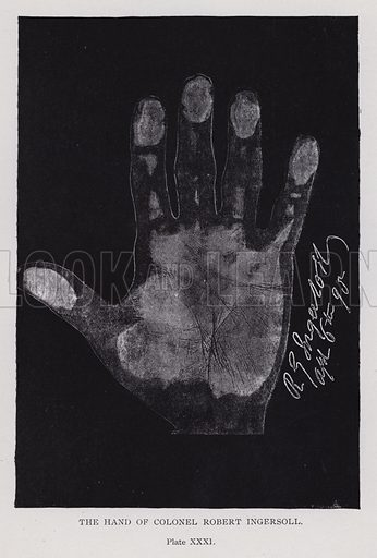 The hand of Colonel Robert Ingersoll. Illustration for Cheiro's Language of the Hand (14th edn, Nichols, and Rand McNally, 1910).  This work was originally published in 1897. William John Warner (also known as Count Louis Hamon), popularly known as Cheiro (1866-1936) was an Irish astrologer and palmist.