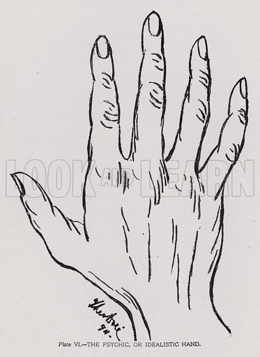 The psychic, or idealistic hand. Illustration for Cheiro's Language of the Hand (14th edn, Nichols, and Rand McNally, 1910).  This work was originally published in 1897. William John Warner (also known as Count Louis Hamon), popularly known as Cheiro (1866-1936) was an Irish astrologer and palmist.  Illustrations by Theo Dore.
