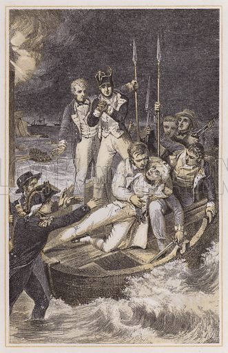 Nelson shot through the arm. Illustration for The Life of Nelson by Robert Southey (new edn, Bell and Daldy, 1866).
