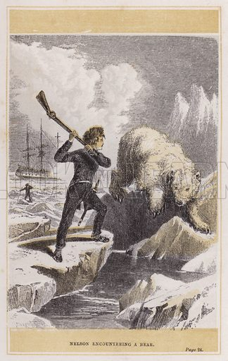 Nelson encountering a bear. Illustration for The Life of Nelson by Robert Southey (new edn, Bell and Daldy, 1866).
