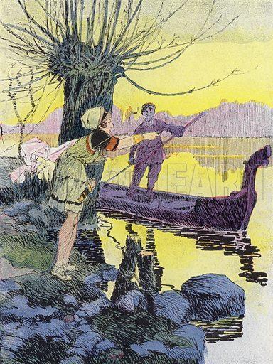 Une Petite Gauloise avant la Conquete Romaine. Illustration for Petites Filles Du Temps Passe by J Jacquin (4th edn, Hachette, 1926).