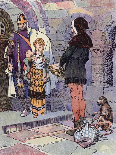 Une Petite Fille des Temps Feodaux. Illustration for Petites Filles Du Temps Passe by J Jacquin (4th edn, Hachette, 1926).