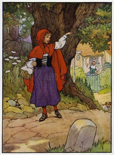 Illustration for the story of Little Red Riding Hood (Blackie, c 1915).