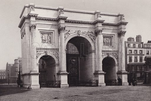 Marble Arch, Hyde Park. Illustration for London Historical and Social by Claude De La Roche Francis (Henry T Coates, 1902).  Gravure printed.
