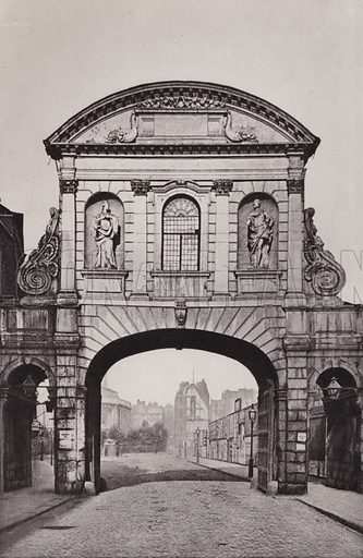 Temple Bar, removed in 1878. Illustration for London Historical and Social by Claude De La Roche Francis (Henry T Coates, 1902).  Gravure printed.