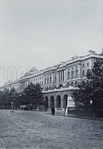 Somerset House. Illustration for London Historical and Social by Claude De La Roche Francis (Henry T Coates, 1902).  Gravure printed.