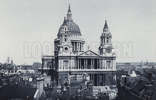 St Paul's Cathedral. Illustration for London Historical and Social by Claude De La Roche Francis (Henry T Coates, 1902).  Gravure printed.