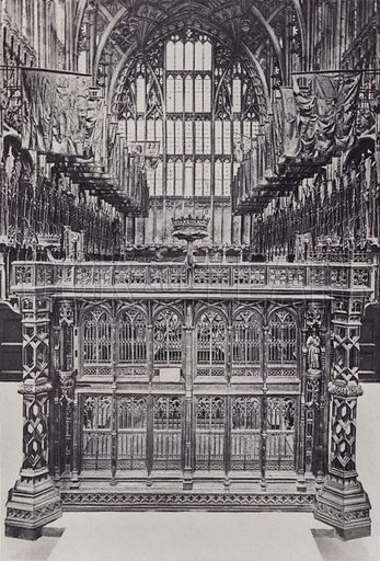 Screen in King Henry VII's Chapel, Westminster Abbey. Illustration for London Historical and Social by Claude De La Roche Francis (Henry T Coates, 1902).  Gravure printed.
