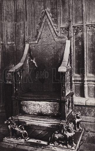 Coronation Chair, Westminster Abbey. Illustration for London Historical and Social by Claude De La Roche Francis (Henry T Coates, 1902).  Gravure printed.