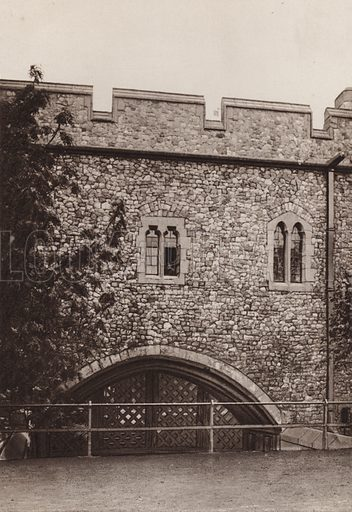 Traitor's Gate, Tower of London. Illustration for London Historical and Social by Claude De La Roche Francis (Henry T Coates, 1902).  Gravure printed.