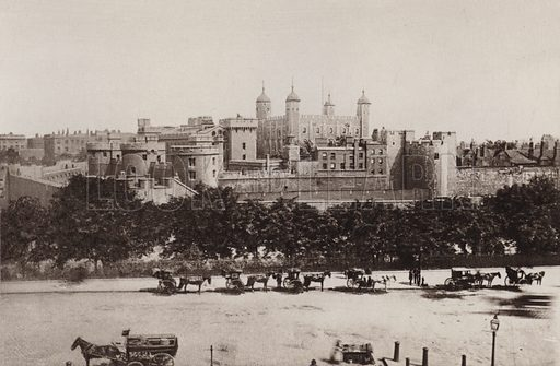 The Tower of London. Illustration for London Historical and Social by Claude De La Roche Francis (Henry T Coates, 1902).  Gravure printed.