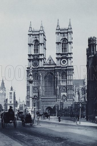 Westminster Abbey. Illustration for London Historical and Social by Claude De La Roche Francis (Henry T Coates, 1902).  Gravure printed.
