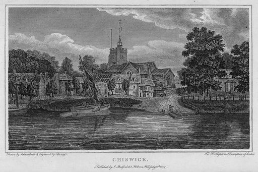 Chiswick. Illustration for London being an accurate History and Description of the British Metropolis and its Neighbourhood by David Hughson (J Stratford, 1809).