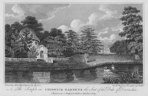 The Temple in Chiswick Gardens the seat of the Duke of Devonshire. Illustration for London being an accurate History and Description of the British Metropolis and its Neighbourhood by David Hughson (J Stratford, 1809).