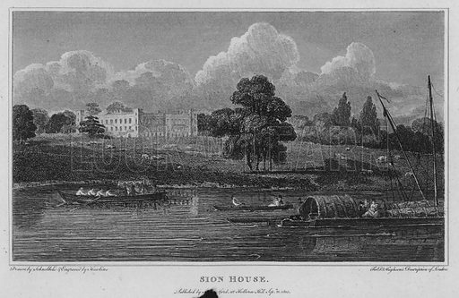 Sion House. Illustration for London being an accurate History and Description of the British Metropolis and its Neighbourhood by David Hughson (J Stratford, 1809).