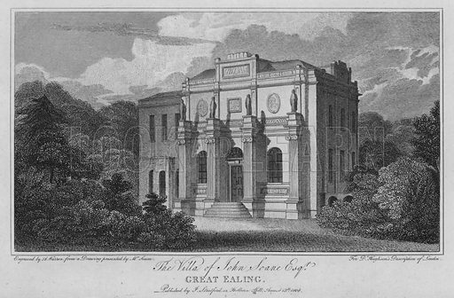 The Villa of John Soane, Great Ealing. Illustration for London being an accurate History and Description of the British Metropolis and its Neighbourhood by David Hughson (J Stratford, 1809).