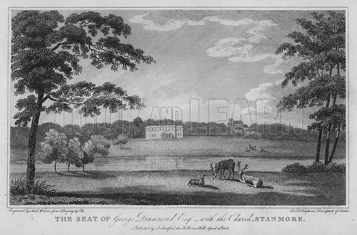 The seat of George Drummond, with the Church, Stanmore. Illustration for London being an accurate History and Description of the British Metropolis and its Neighbourhood by David Hughson (J Stratford, 1809).