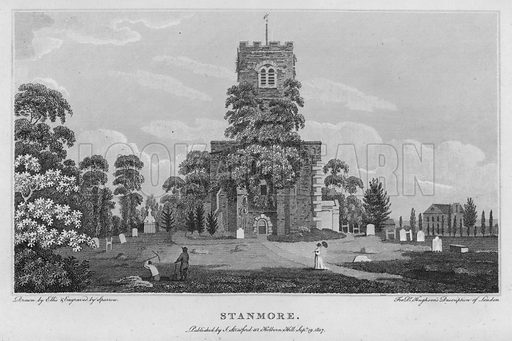 Stanmore. Illustration for London being an accurate History and Description of the British Metropolis and its Neighbourhood by David Hughson (J Stratford, 1809).