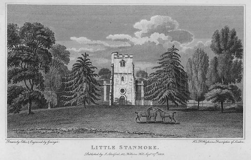 Little Stanmore. Illustration for London being an accurate History and Description of the British Metropolis and its Neighbourhood by David Hughson (J Stratford, 1809).