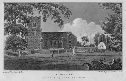Edgware. Illustration for London being an accurate History and Description of the British Metropolis and its Neighbourhood by David Hughson (J Stratford, 1809).