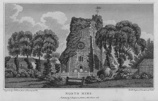 North Mims. Illustration for London being an accurate History and Description of the British Metropolis and its Neighbourhood by David Hughson (J Stratford, 1809).