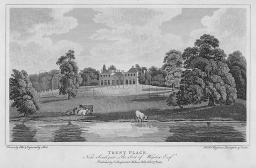 Trent Place, near Southgate, the seat of Wigston. Illustration for London being an accurate History and Description of the British Metropolis and its Neighbourhood by David Hughson (J Stratford, 1809).