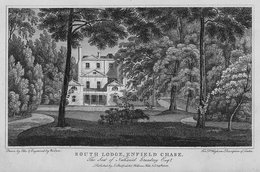 South Lodge, Enfield Chase, the seat of Nathaniel Grundrey. Illustration for London being an accurate History and Description of the British Metropolis and its Neighbourhood by David Hughson (J Stratford, 1809).