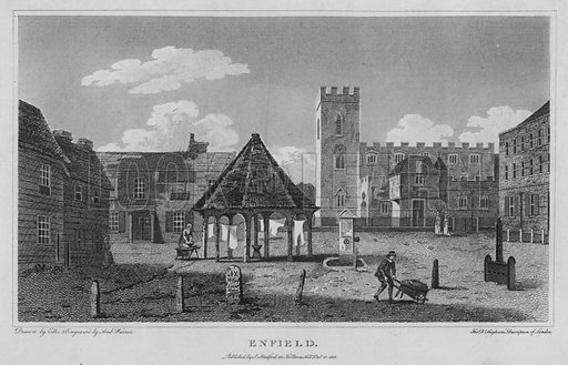 Enfield. Illustration for London being an accurate History and Description of the British Metropolis and its Neighbourhood by David Hughson (J Stratford, 1809).