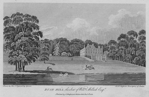 Bush Hill the seat of William Mellish. Illustration for London being an accurate History and Description of the British Metropolis and its Neighbourhood by David Hughson (J Stratford, 1809).