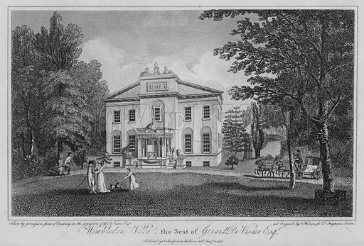 Wimbledon Villa, the seat of Gerard De Visme. Illustration for London being an accurate History and Description of the British Metropolis and its Neighbourhood by David Hughson (J Stratford, 1809).