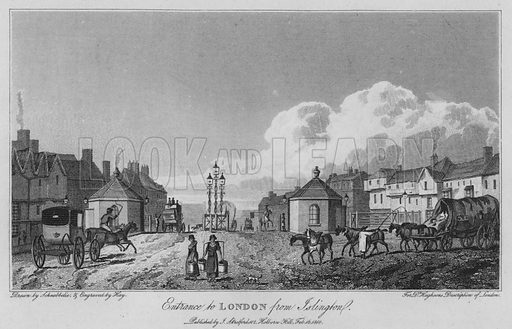 Entrance to London from Islington. Illustration for London being an accurate History and Description of the British Metropolis and its Neighbourhood by David Hughson (J Stratford, 1809).