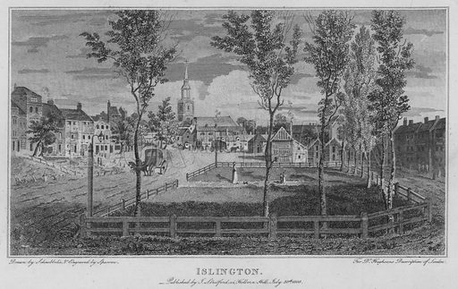 Islington. Illustration for London being an accurate History and Description of the British Metropolis and its Neighbourhood by David Hughson (J Stratford, 1809).