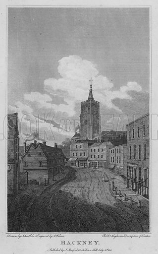 Hackney. Illustration for London being an accurate History and Description of the British Metropolis and its Neighbourhood by David Hughson (J Stratford, 1809).