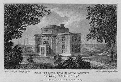 Belle Vue House, Hale End, Walthamstow, the seat of Charles Cooke. Illustration for London being an accurate History and Description of the British Metropolis and its Neighbourhood by David Hughson (J Stratford, 1809).