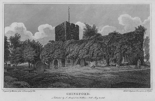Chingford. Illustration for London being an accurate History and Description of the British Metropolis and its Neighbourhood by David Hughson (J Stratford, 1809).